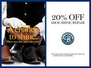 20% off shoe shine and repair Coupon